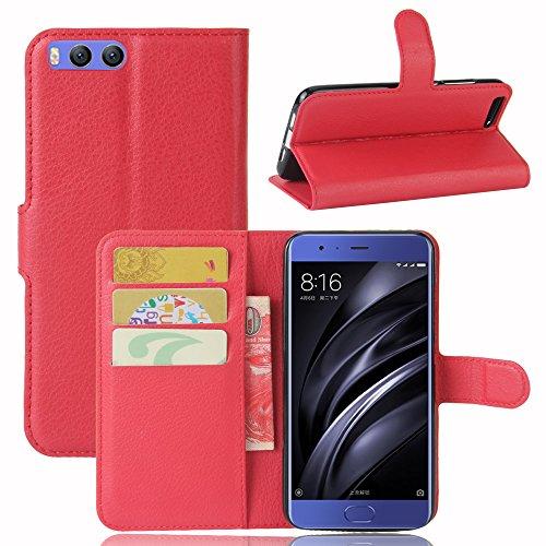 Lusee® PU Caso de cuero sintético Funda para Xiao Mi 6 Mi6 5.15 Pulgada Cubierta con funda de silicona marrón rojo