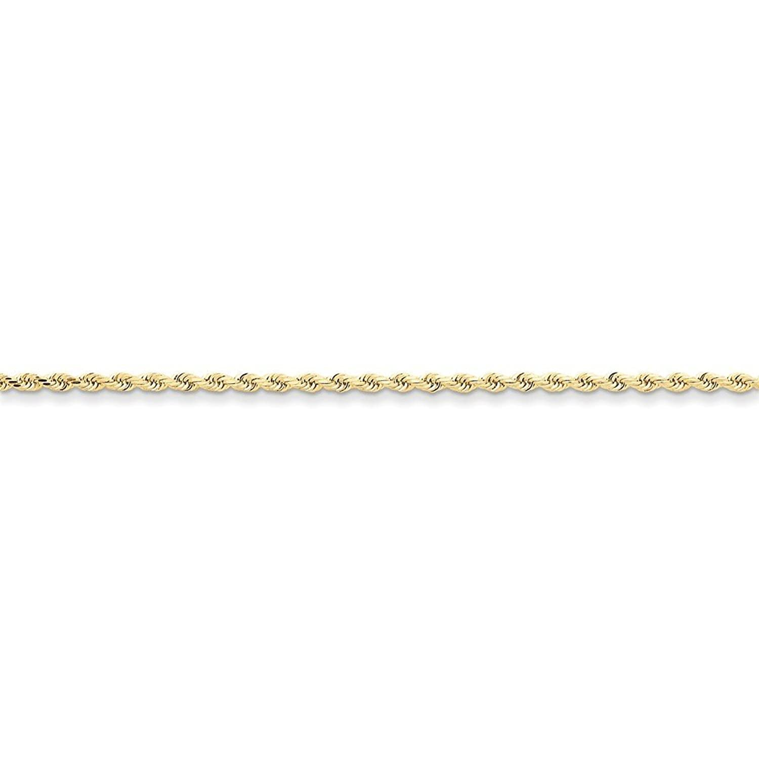10K Yellow Gold 2.25mm Faceted-Cut Rope Chain Anklet, 9""