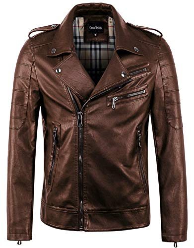 (chouyatou Men's Vintage Asymmetric Zip Lightweight Faux Leather Biker Jacket (Large,)