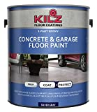 KILZ 1-Part Epoxy Acrylic Interior/Exterior Concrete & Garage Floor Paint, Satin, Silver Gray, 1 gallon