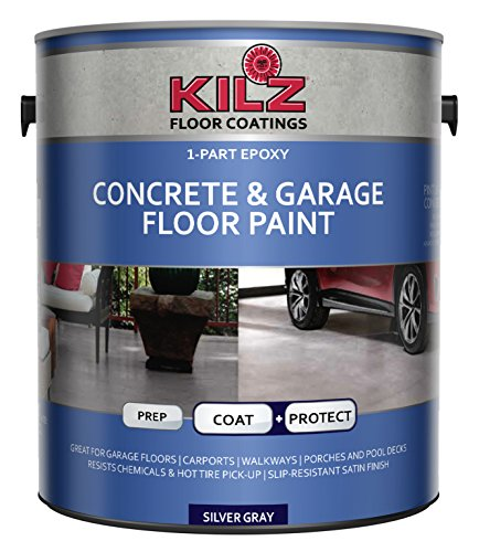 KILZ L377611 1-Part Epoxy Acrylic Interior/Exterior Concrete and Garage Floor Paint, Satin, Silver Gray, 1-Gallon, 1 Gallon, 4 l - Gray Garage Floor