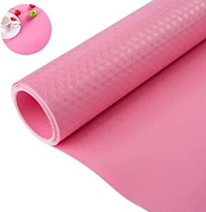 """Bloss Plastic Shelf Liners Cabinet Drawer Liner Non-Slip Shelf Liner Non-Adhesive Refrigerator Mat Cupboard Pad Antibacterial Antifouling No Odorfor Kitchen Home-Pink 17.7""""×59"""""""