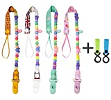Baby Pacifier Clip + 2 Pack of Multi Purpose Stroller Hooks - Modern Designs Universal Ring Holder Leash for Teether Pacifiers, Teething Toy or Soothers, Drool Bibs, Baby Shower Gift Set
