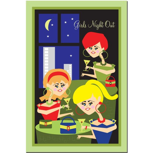 Trademark Fine Art Girls Night Out by Grace Riley Canvas Wall Art, 14x19-Inch