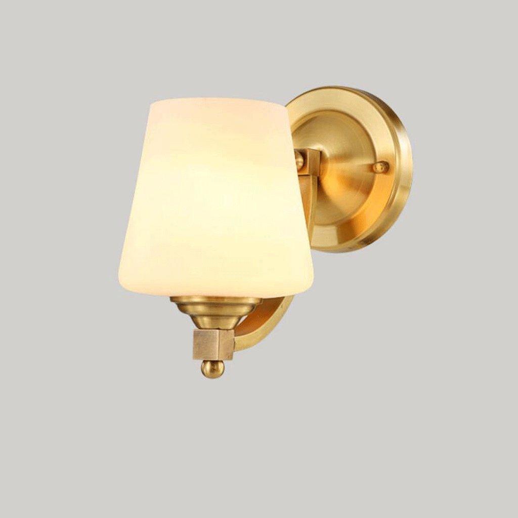 Wandleuchte WQQ Wohnzimmer Lichter voll Kupfer Schlafzimmer Nachttischlampe einfache Studie Lampe Gang Eingang Lichter Reine handgemäßhte Kupfer zu schaffen Luxus und schöne E27 (Größe   25cm)