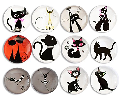 Pack-12 Cat Refrigerator Magnets, Crystal Glass Fridge Magnets, Cosylove Cute Magnets for Cabinets Whiteboard Photos Home Decorations Gift (Cat Magnets)
