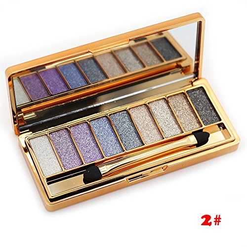 Tmalltide Natural Nudes Professional 9 Colors Diamond Bright Colorful Eye Shadow Super Flash Sparkling/Glitter Eyeshadow Colour Concealer Palette Gift Bundle From US