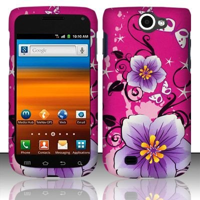 Pink/Purple Hibiscus Design Snap On Protector Hard Case for T-MOBILE SAMSUNG EXHIBIT II / 2 4G T679