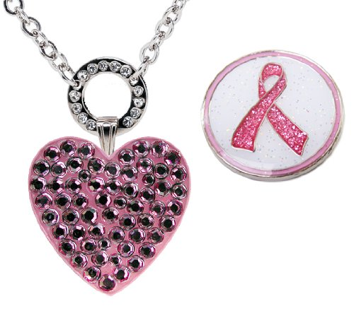 (Navika Magnetic Necklace with Swarovski Crystal Pink Heart and Glitzy Pink Ribbon Ball Markers)