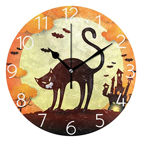 AGONA Halloween Black Cat Wall Clock, Art Wall