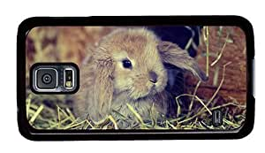 Hipster Samsung Galaxy S5 Case sell cover cute fluffy bunny PC Black for Samsung S5