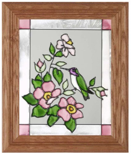 Costa's Hummingbird Vertical Art Glass Panel with Wooden Frame 12 x 10