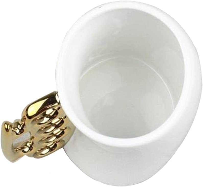 Brass Knuckle Coffee Mug,Cool Coffee Mugs Creative Ceramic White Fist Cup with Golden Handle