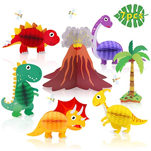 Dinosaur & Volcano Centerpieces - Dinosaur Honeycomb Party Supplies - Little Dino T-Rex Kids Birthday Decorations for Boy 7pcs]()
