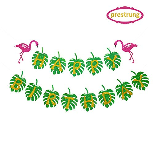Kitticcino Hawaiian Flamingo Party Happy Birthday Banner for Tropical Luau Party Palm Leaf Decorations ()