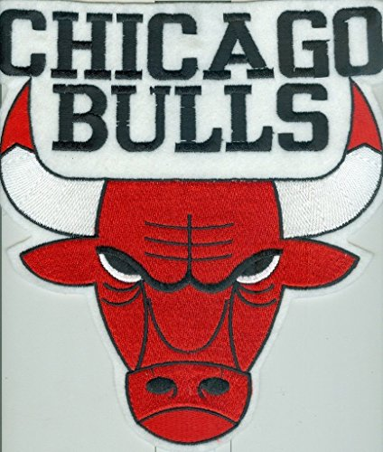 "1982 1994 Chicago Bulls large bulls jersey type patch 9"" x 10"" white red"