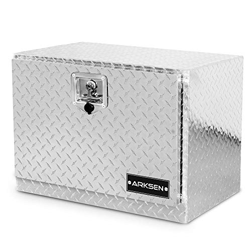 "ARKSEN 24"" Durable Construction Aluminum Diamond Plate Tool Box Pickup Truck ATV Durable Underbody Trailer Storage Lock With Key, Silver"