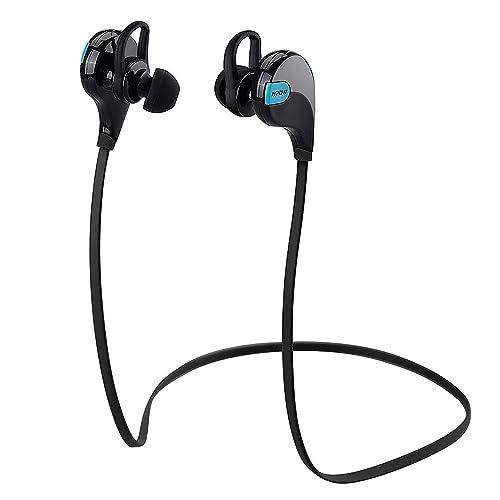 Mpow Auriculares Bluetooth, Auricular Runing Inalambricos Deportivos Swift Cascos con Micrófono y Cancelación de Ruido con Tecnología APTX para Hacer Deporte Correr Running para iPhone8 X 7 Plus Samsung(negro azul)