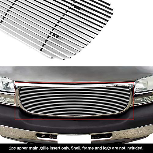 2001 Aluminum Grille - APS G65704A Polished Aluminum Billet Grille Bolt Over for select GMC Sierra 1500 Models