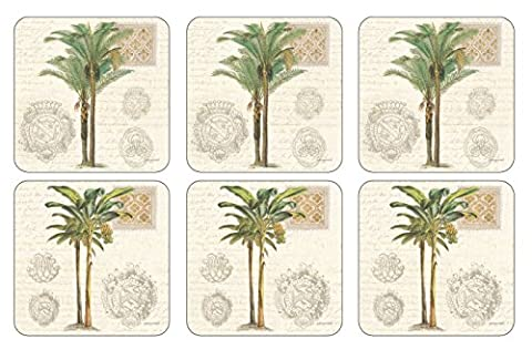 Pimpernel Vintage Palm Study Coasters S/6 4.25