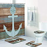 Anchor Shower Curtain 4 Piece Anchor Shower Curtain Sets with Non-Slip Rugs, Toilet Lid Cover and Bath Mat, Nautical Anchor Rustic Wood Shower Curtain with 12 Hooks, Waterproof Shower Curtain