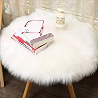 Rug Pad,Putars Luxury Soft Artificial Sheepskin Rug Chair Cover Artificial Wool Warm Hairy Carpet Seat Pad for Hardwood Floors (White)