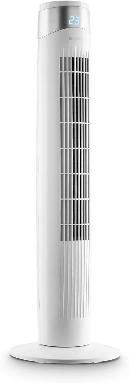 KLARSTEIN Storm Tower New Line - Ventilador de Torre, 3 Funciones de Aire, 6 velocidades, Pantalla LED, Carcasa con Asas, Panel de Control táctil, Oscilación hasta 80º, Mando a Distancia, Blanco