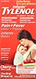 Infants Tylenol Pain Reliever-Fever Reducer Cherry Flavor Oral Suspension 2 fl. oz. Box - 36 per case.