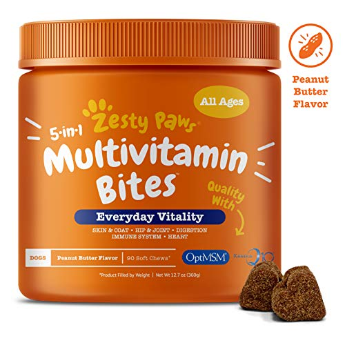Multivitamin for Dogs - Glucosamine & Chondroitin + MSM for Hip & Joint + Arthritis - Fish Oil for Skin & Coat + Digestive Enzymes & Probiotics + CoQ10 Dog Vitamins - Peanut Butter - 90 Chew Treats