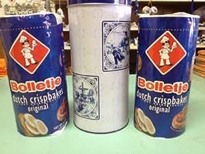 Bolletje Beschuit Original/Regular in DELFT BLUE TIN (Dutch Crispbakes/Dutch Rusk/Light Crisp Toast) 3 Roll with 1 delft blue tin ea 125gram 4.4oz