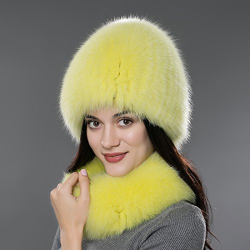 URSFUR Chapeau/Bonnet/Etiquette Rayé Tressé pour Femme D'hiver Fourrure de Renard
