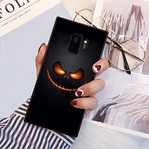 Square Halloween Skull Samsung Galaxy S9 Plus Case, JQLOVE All-Inclusive Full-Body Shockproof Protective Phone Cover, Case for Samsung Galaxy S9 Plus Halloween Skull ()