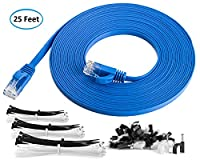 Maximm Cat6 Flat Snagless Ethernet Cable High Speed Internet Lan Cable with Snagless RJ45 Connectors For Fast Computer Networking + Cable Clips and Ties