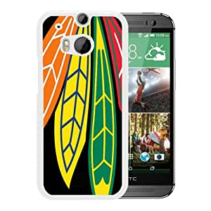 New Unique Custom Designed Case With Chicago Blackhawks (2) White For HTC ONE M8 Phone Case