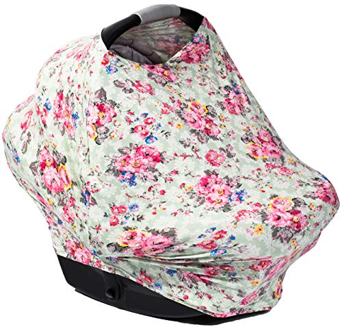 Posh Peanut Premium Floral Baby Car Seat Cover - Multi Use Nursing and Breastfeeding Canopy, Stretchy Cover Scarf - Vintage Mint Carseat for Stroller, High Chair, Scarf, and Shopping Cart