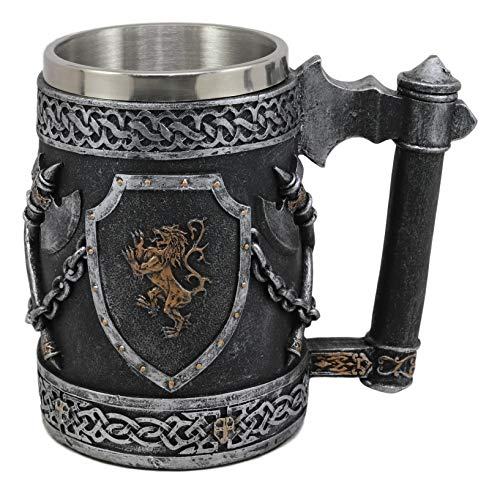 (Ebros Large Medieval Coat Of Arms English Lion Heraldry Shields And Crossed Axes Tankard Mug 16oz Kingdom Of England Lion Heart Crest Beer Stein Tankard Coffee Cup Renaissance Art Decor Home Kitchen)