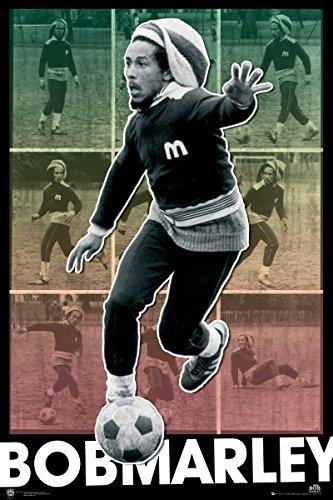 Bob Marley Soccer Football Collage Classic Reggae Music Legend Celebrity Poster Print (Bob Marley Soccer Poster)