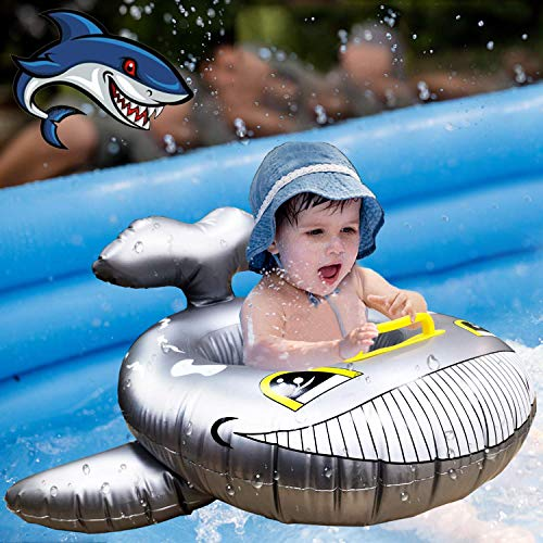 AMENON Baby Pool Float, Baby Swimming Pool Float Ring with Shark for Kids Foldable Device Infant Baby Floats for Pool Toddler Pool Toys Girl Swimming Pool Accessories for Newborn Aged 8-24 Months