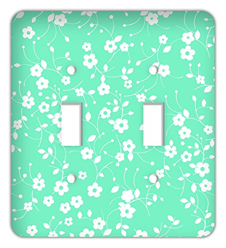 Drama Decor Nodding Flower and Leaves Daisy Print Trendy Printed Double Switchplate Cover, Mint