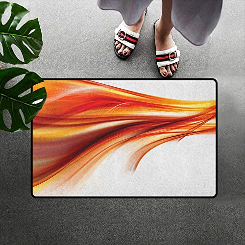 Rug Mat Welcome Doormat Decorative Floor Mat W19 x L31 INCH Abstract,Modern Contemporary Abstract Smooth Lines Blurred Smock Art Flowing Rays Print, Orange Red