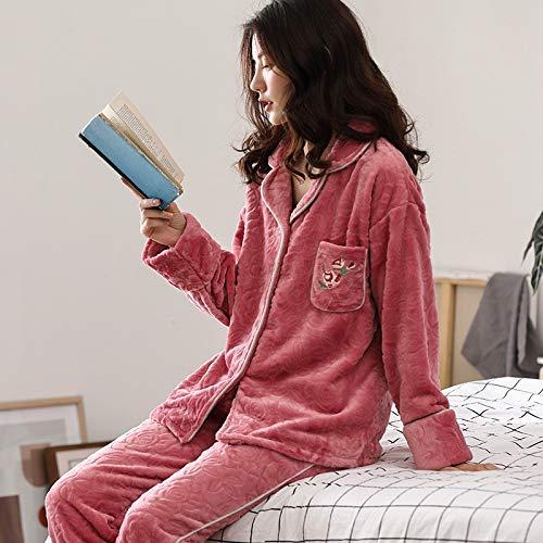 Fleece Service Pajamas 47 Flannel Island 164cm Winter Cardigan Coral Set Women's 57kg Home Pajamasx And Autumn L158 Sleeve Long Aw00qX