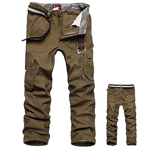 Zdddykyou Special Men Cargo Pants Military Army Pant 100% Cotton Khaki/Green/Brown/Black Big Size 30-44 Men Pants Army yellow44