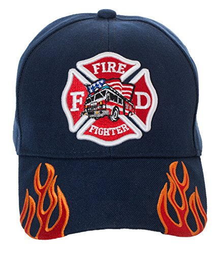 Artisan Owl Fire Fighter Fire Department Rescue Flames Baseball Cap Hat (Navy ()