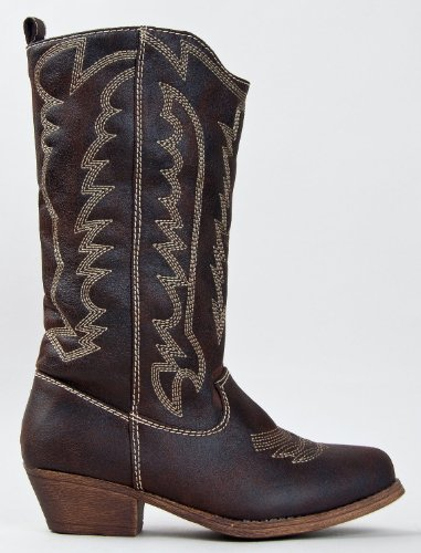 AUSTIN-03 Stitched Western Cowboy Inspired Stacked Heel Mid Calf Boot
