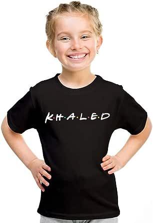 خربشات تيشيرت بناتي بإسم خالد ، مقاس 28 EU ، اسود