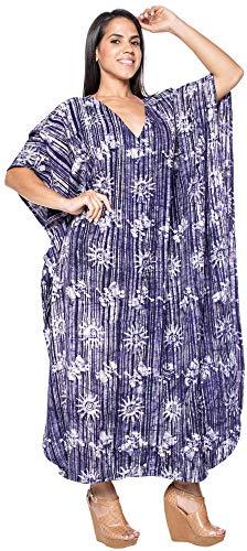 LA LEELA Ladies Batik Caftan Plus Size Cover up Dress Navy_J401 14-18W [L-2X] (Batik Caftan Dress)