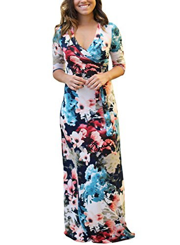 2017 Summer Elegant Floral Printed Bodycon Dress-Pink - 1