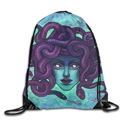 Medusa Halloween Purple Sexy Patterned Themed Printed Drawstring Bundle Book School Shopping Travel Back Bags Draw String Gym Backpack Bulk Girl Boy Women Men