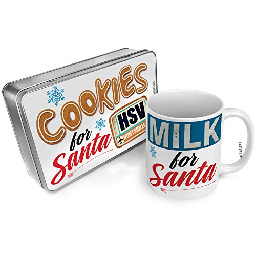 NEONBLOND Cookies and Milk for Santa Set Airportcode HSV Huntsville, AL Christmas Mug Plate Box ()
