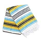 yellow and light blue - Del Mex Classic Mexican Blanket Vintage Style (Yellow/Light Blue)